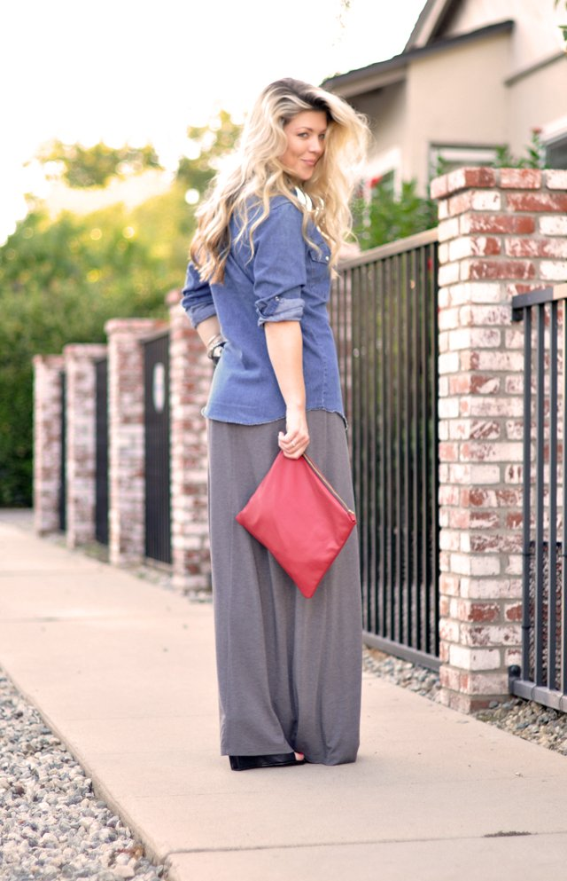 hair-red clutch bag- vintage denim shirt-maxi tank dress
