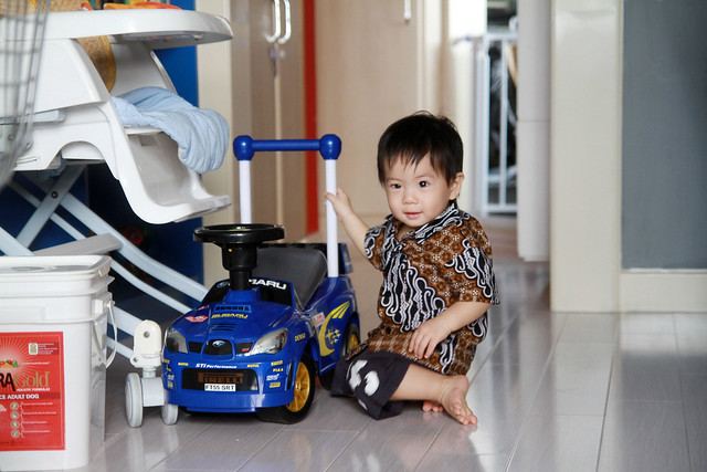 Baby M in Batik & His Subaru