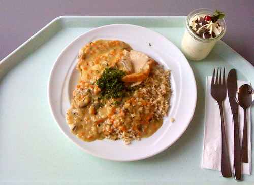 Putenbraten in Champignonsauce / Turkey roast in white mushroom sauce