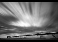 Pier pressure b+w (Chrisconphoto) Tags: longexposure blackandwhite bw beach clouds pier movement le southport weldingglass