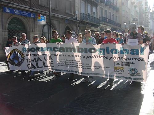 Cabecera de la marcha 15O en Jaén