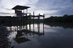 Shadow (mubarak.mashor) Tags: longexposure sunset sky reflection clouds river moving hut filter le nd af 500 20 nikkor brunei f28 stilts d3 lcw lightcraftworkshop
