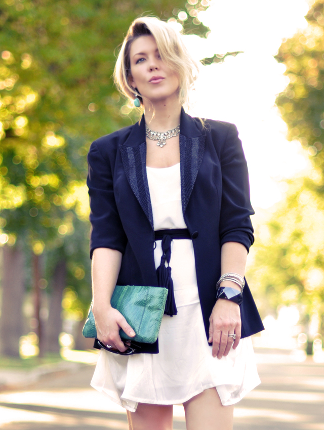 white dress -black blazer- rhinestones-turquoise jewelry