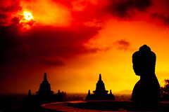Good morning Borobudur (zoomion) Tags: old red orange sun clouds century sunrise indonesia temple java asia mt mount buddah 8th borobudur merapi