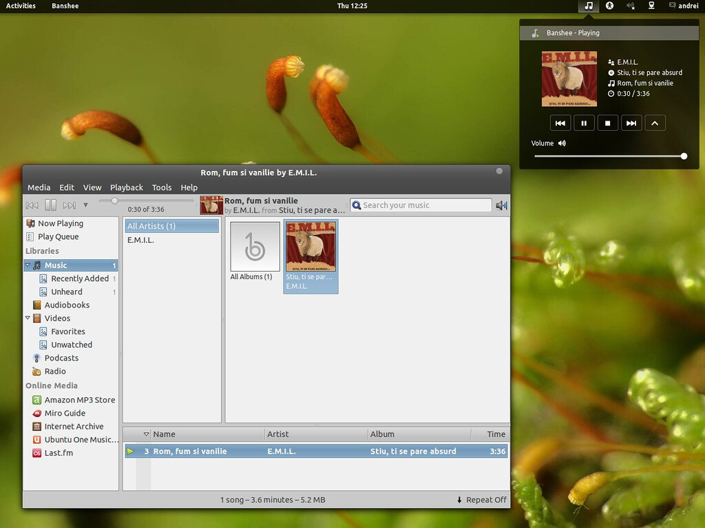 Music Player Extension Gnome shell