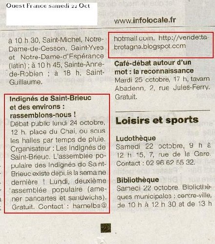 Ouest-France - Annonce Samedi 22 Octobre