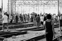 Stop (LaKry*) Tags: light people blackandwhite sunshine station blackwhite gente bokeh protest trellis persone demonstration protesta rails persons venezia stazione luce biancoenero tralicci manifestazione occupation rotaie occupazione legalalega noalgiropadano
