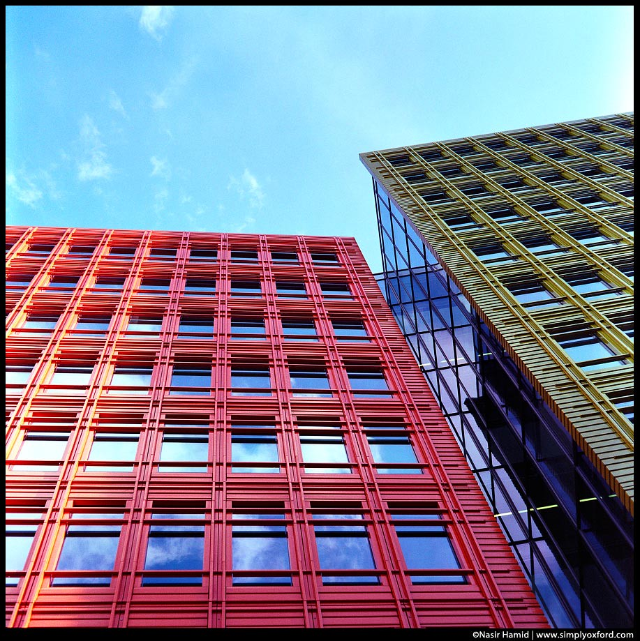 Red and green buildings
