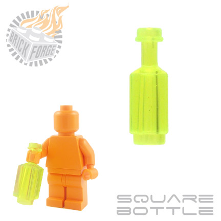 Square Bottle - Trans Neon Green