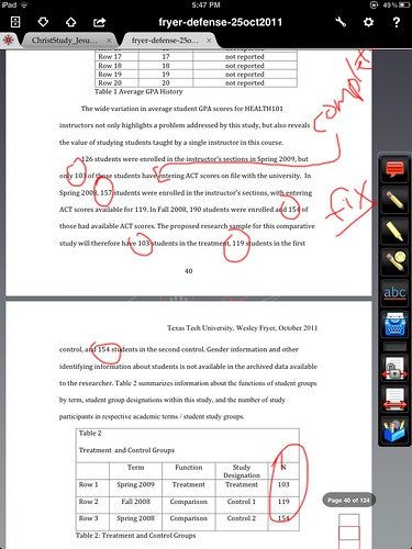 Document editing on an iPad with iAnnotate PDF