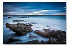 The Anvil (Matthew Stewart | Photographer) Tags: ocean blue light sea sky white seascape black beach water sunshine rock clouds sunrise point coast sand rocks long exposure cloudy matthew australia stewart qld queensland anvil arkwright arkright