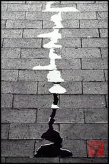 Yin und Yang II (Linda Broszeit) Tags: water rain puddle wasser yang yin schwarz regen wow1 wow2 pftze weis blinkagain