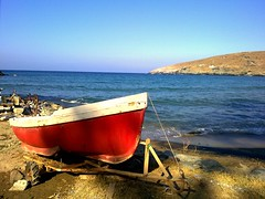 RED boat    - Greece Chora Andros (dimitra_milaiou) Tags: world life wood blue light shadow red sea summer sky people sun white color colour love beach nature water colors beautiful beauty smile swimming painting landscape rouge island greek happy one 1 design boat nokia wooden holidays europe paint day colours peace village view joy dream aegean hellas lifestyle happiness dreaming greece hora planet summertime emotions vacations chora andros cyclades dimitra hellenic x6 kyklades   aigaio   paraporti  milaiou   dimitramilaiou