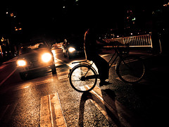 You go first   #Frontpage (imsuri) Tags: china road light shadow people colors bicycle night chinese streetlife panasonic explore nightlight chinadigitaltimes 20mm 365 frontpage nanning guangxi 2011 streetsnap microfourthirds