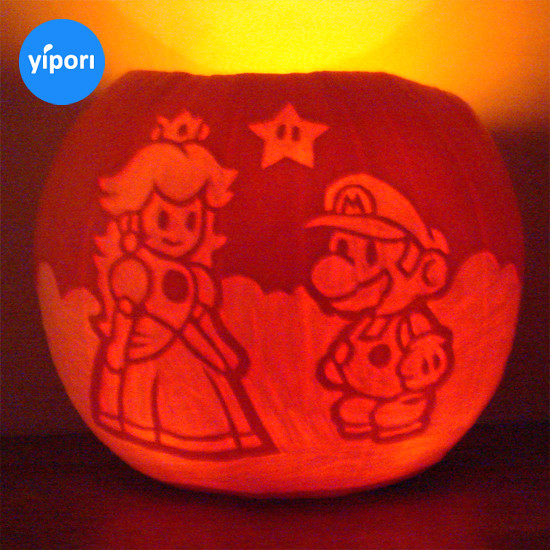 Nintendo pumpkin, Super Mario and Princess Peach