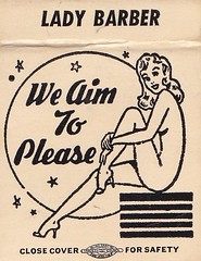 LADY BARBER We Aim To Please (hmdavid) Tags: art illustration vintage girlie matchbook midcentury matchcover ladybarber