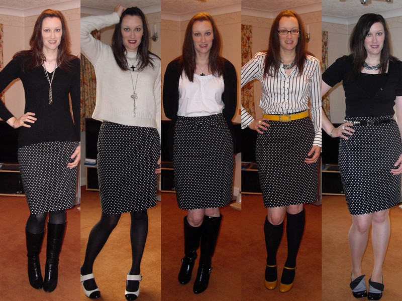 B&W polka dot skirt collage