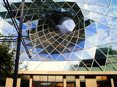 wormhole in the facade (mujepa) Tags: glass lines architecture facade germany niceshot hole frankfurt curves shapes wormhole shoppingcenter allemagne trou francfort hesse wurmloch myzeil rememberthatmomentlevel1 rememberthatmomentlevel2