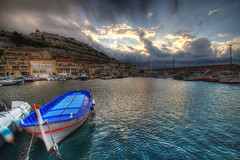 Stormy Sunset 1 (marcovdz) Tags: sunset storm france clouds port boat marseille fishing provence nuages bateau hdr 3xp pointu portdepche barquette madraguedemontredon