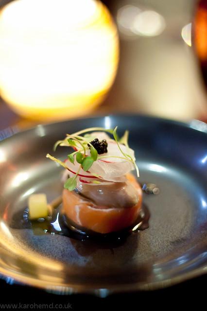Salmon, oyster, caviar