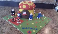 smurf cake (teri_caza) Tags: birthday mushroom cake smurfs fondant