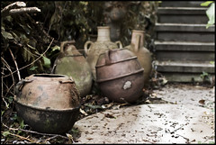 Pots (Ingo Tews) Tags: old autumn leaves germany garden deutschland dof hessen alt herbst pot pots topf weathered blätter garten darmstadt hesse mathildenhöhe verwittert töpfe vortexgarden vortexgarten