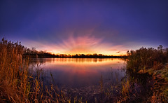 Sun Bursting Into Morning at Independence Grove (jeff_a_goldberg) Tags: panorama fall hdr independencegrove supershot lcfp absolutelystunningscapes lakecountyforestpreserveslcfp