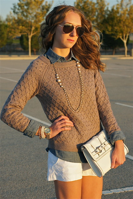Fall outfit with shorts and sweater