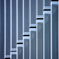 Abstract (tanakawho) Tags: blue urban abstract black building geometric monochrome vertical metal horizontal wall pattern exterior gray monotone line squareformat punched tanakawho visionqualitygroup