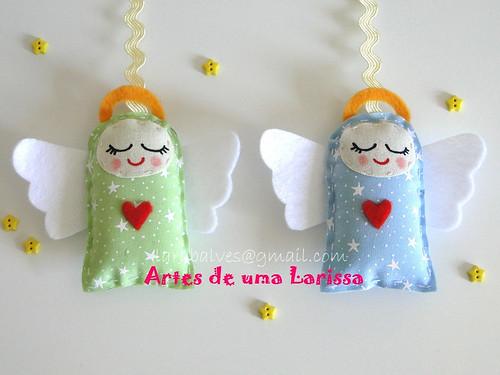Anjinhos Azuis e Verdes by Artes de uma Larissa