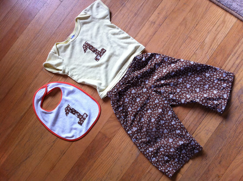 Everett's birthday bib + shirt + pants!