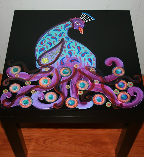 "Peacock Table 22"" x 22"" x 18"" by Rick Cheadle Art and Designs"