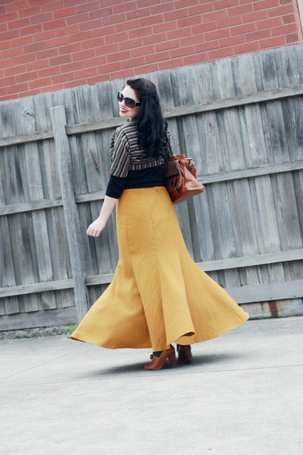 mustard long skirt b
