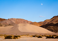 Large Ibex Dune and Moon (Kurt Lawson) Tags: ca sky rock nationalpark rainbow sand mine unitedstates desert dunes brush hills deathvalley ibex talc deathvalleynationalpark saddlepeak ibexdunes newberrybaker