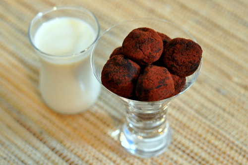 Peanut Butter Truffles and Milk