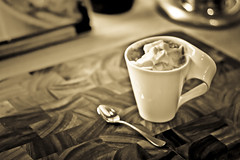 Frothy Sepia - Explored! (jrobblee) Tags: light cup kitchen coffee sepia canon eos wooden cafe dof drink board beverage drinking spoon hotchocolate mocha foam mug frothy latte cappuccino froth hotbeverage woodenboard hotdrink caffein 50d canoneos50d canon50d