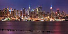 Bluer Hour with my Bro.... (ADW44) Tags: nyc longexposure newyork skyline panoramic hudsonriver empirestatebuilding bluehour chryslerbuilding gotham bigapple photostich hdr weehawken 70200f28 canon5dmarkii