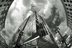 Point Me At The Sky (Ian Sane) Tags: street sky white fish black reflection building eye me skyline architecture clouds oregon portland lens point ian lights downtown perspective images fisheye tones sane the at