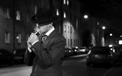 It was time. (1) (krissen) Tags: street light blackandwhite bw evening noir cigarette smoke smoking gata filmnoir tobak svartvitt kväll cigarett rökning röka fotosondag fs111120 tändacigarett