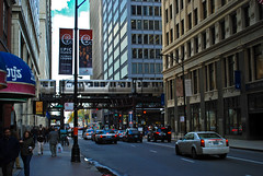 """The """"L"""" - Blue Line, Chicago (StGrundy) Tags: usa chicago architecture train buildings illinois nikon downtown cta publictransportation blueline unitedstates theloop elevated thel d80 stgrundy"""