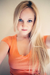 You're just somebody that I use to know. (Gods Emerald - With Love Photography) Tags: selfportrait t blueeyes justme blondehair orangeshirt theresamcmanus