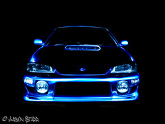 Lightpainted WRX (jasoncstarr) Tags: longexposure blue lightpainting subaru wrx panasoniczr3