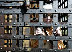 Woman in Jail (Curtis Gregory Perry) Tags: county las vegas woman up sunglasses metal museum nikon bars iron nevada cage historic prison clark jail behind locked d300 incarcerated