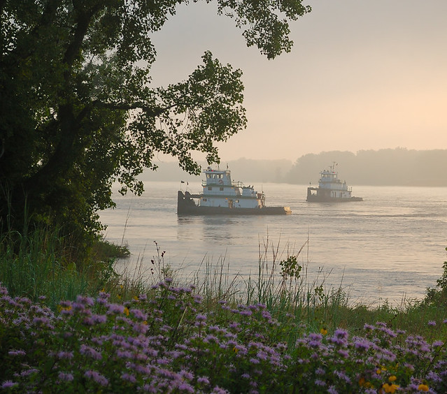 Cliff Cave County Park, in Mehlville, Missouri, USA - two tugboats on the Mississippi River