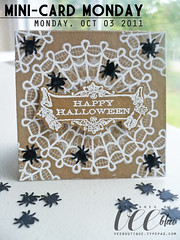 Mini-Card Monday: Spider's Happy Halloween (veebhu) Tags: white black halloween pen cards spider handmade giveaway gel happyhalloween kraft puncher doilies signo cardstock studiog glossyaccents