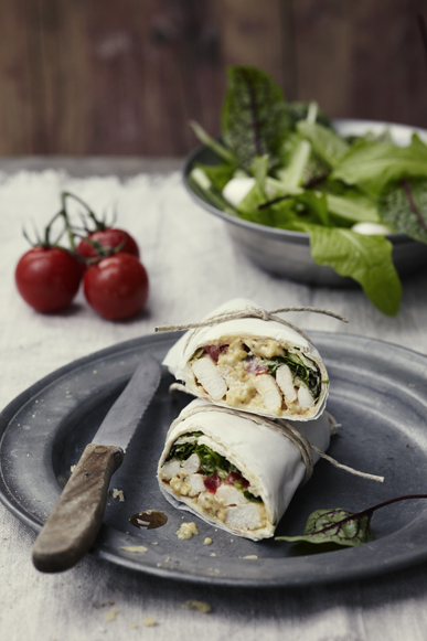 N7 LaPetiteCuisine-Chicken Salad Lettuce Roll Wrap Twine Pewter Knife