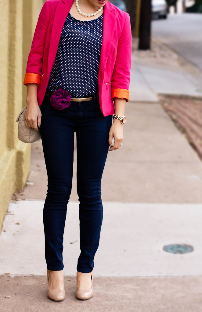 zara pink pique blazer, delias navy polka-dot top, urban outfitters bdg grazer cigarette jeans, ann taylor perfect gold skinny belt, sproos chiffon flower pin, forever 21 pearl necklace, yesstyle beige quilted purse, mk5430