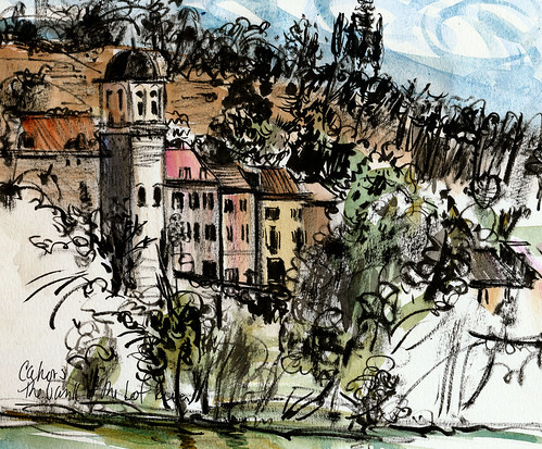 River sketch, Cahors, France. Hot and windy day.