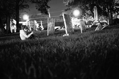 (Photofidelity) Tags: nightphotography blackandwhite bw girl cemetery night olympus creepy potsdamny meghanherald olympusep3