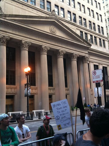The Federal Reserve Bank of Chicago, across from the Occupy Chicago event